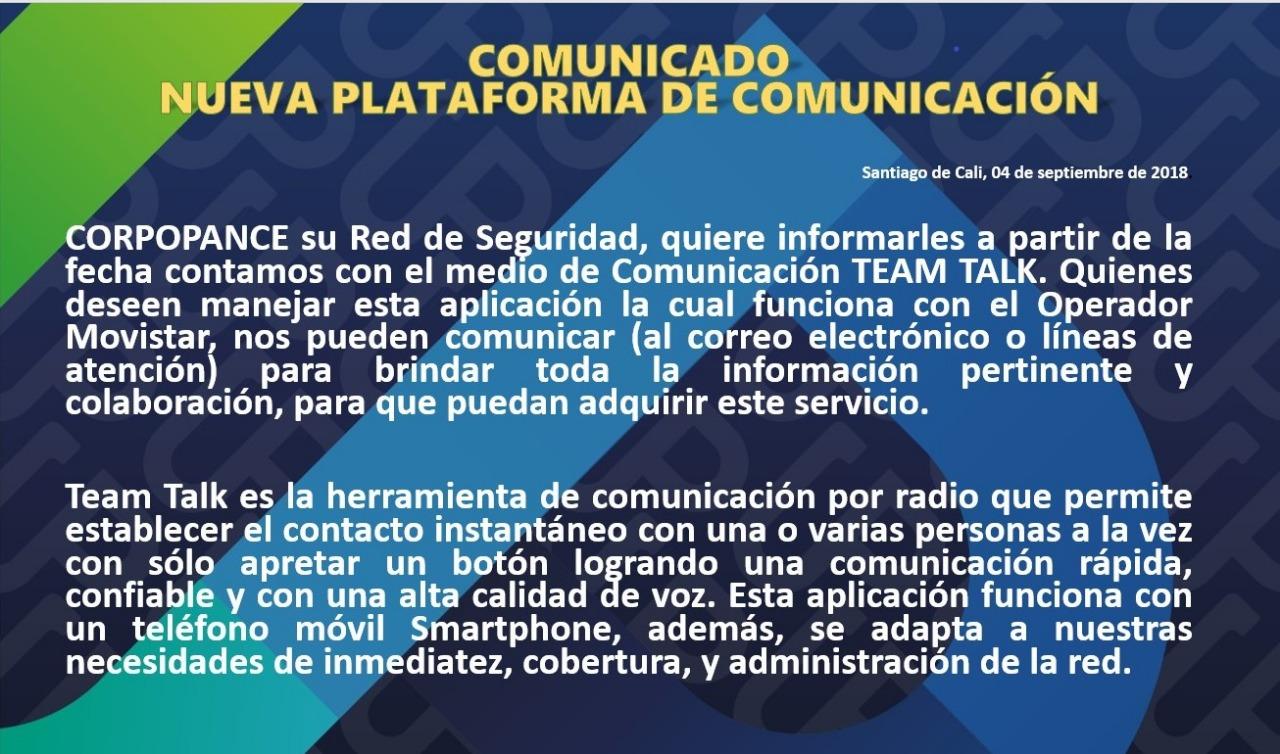 Nueva plataforma de comunicación.