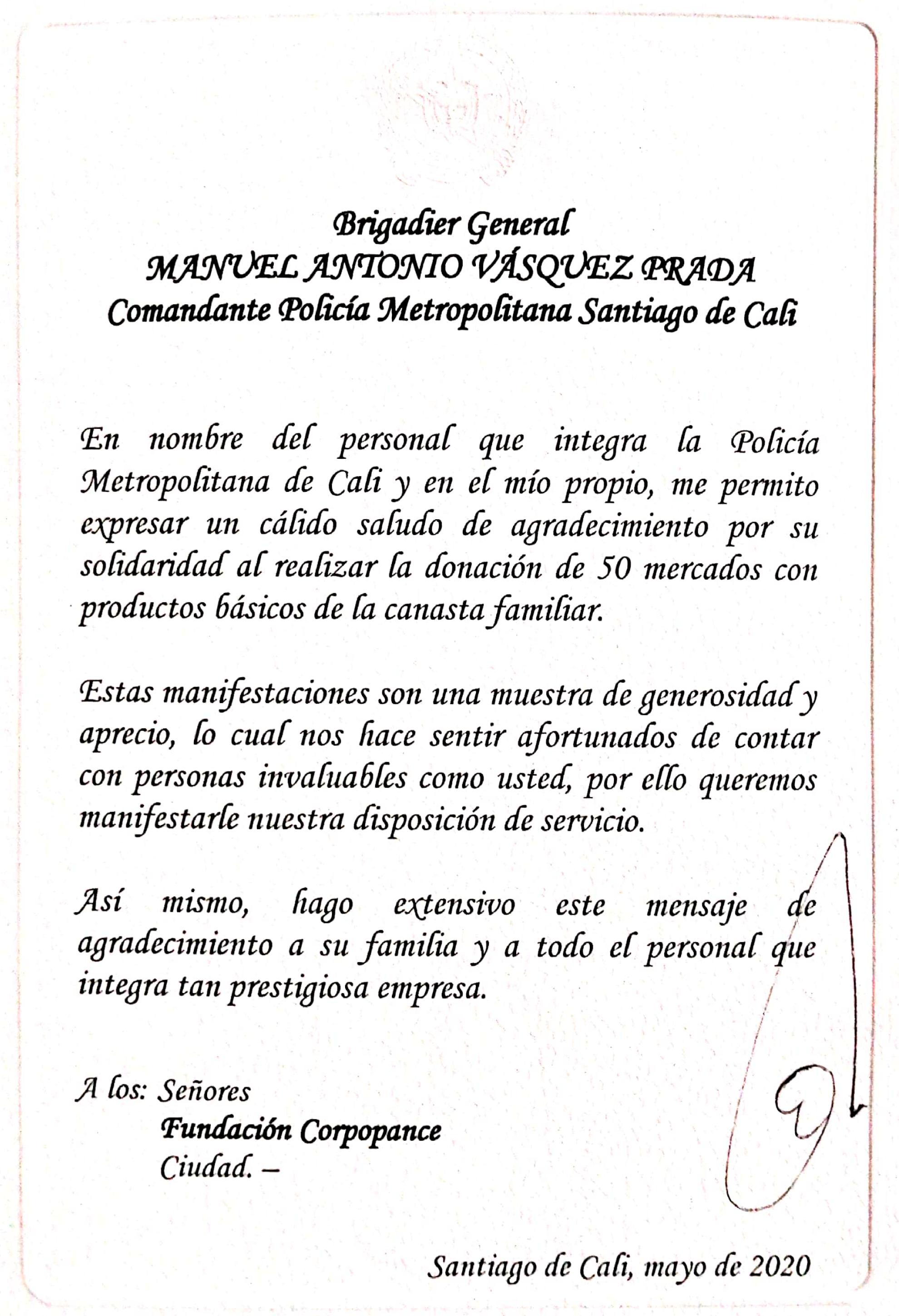 Carta de agradecimiento del Brigadier general Manuel Vazquez